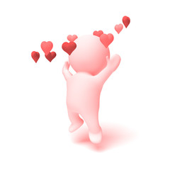 cute human 3d character in shades of pink cheering happily in a ring of  hearts (3D illustration isolated on a white background)