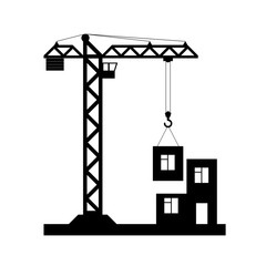 Building Tower crane icon - vector, flat design. Eps 10.
