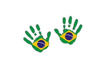 Brazil hands flags