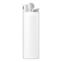 White Blank Cigarette Lighter. On White Background Isolated. Mock Up Template Ready For Your Design. Product Packing Vector EPS10