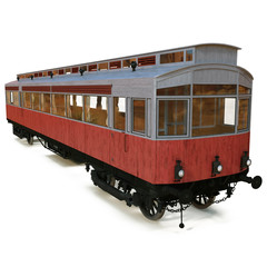 Vintage tram isolated over white 3D Illustration