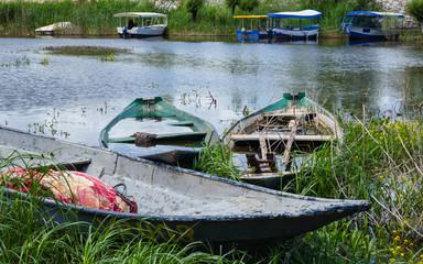 Fishermen rowing boats on a coast