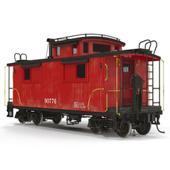 Red Caboose isolated on white. 3D Illustration