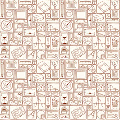 Mathematics science theme. Seamless hand drawn pattern about school and learning. Teacher's day background. Back to school seamless pattern with science and mathematics doodle icons.