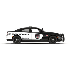 Police car. Sport and modern style. Isolated on white 3D Illustration