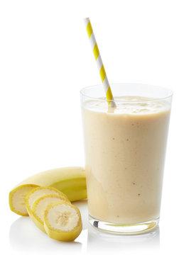 Glass of banana smoothie