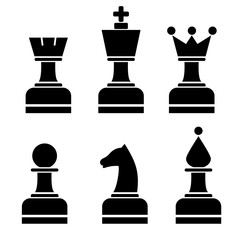 Vector set of chess figures. Black chessmen isolated on the white background.