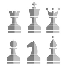 Vector set of chess figures. Grey chessmen isolated on the white background.