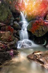 beautiful deep forest waterfall in Nakornnayok, Thailand