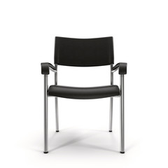 Metal office chair with steel legs on white background 3D Illustration