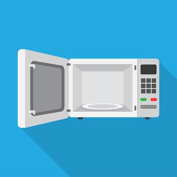 microwave oven with the door open