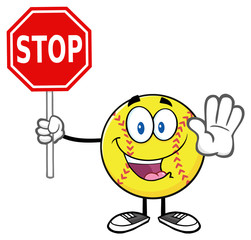 Funny Softball Cartoon Mascot Character Gesturing And Holding A Stop Sign