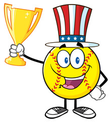 Happy Softball Cartoon Character With Patriotic Hat Holding A Trophy Cup