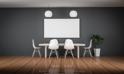 working meeting room with white photo frame wood floor 3d render