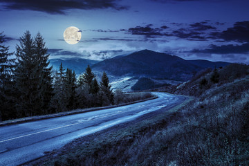 mountain road near the coniferous forest with cloudy sky at nigh