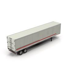Fototapeta Blank white parked semi trailer, isolated on white 3D Illustration