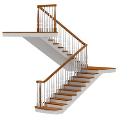 Stairs Isolated on White 3D Illustration