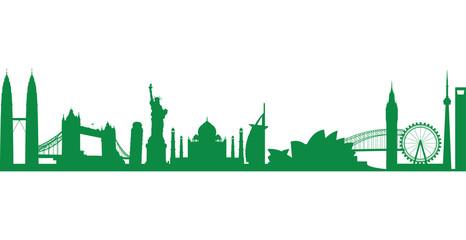 Deurstickers world landmark group in green
