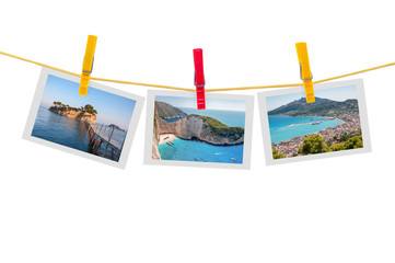 Three photos of Zakynthos on clothesline