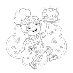Coloring Page Outline Of cartoon Boy chef with cake