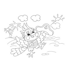 Coloring Page Outline Of joyful parrot sailor on the island