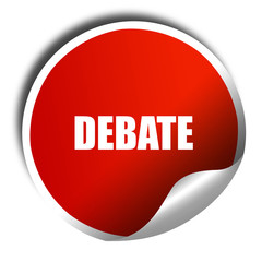 debate, 3D rendering, red sticker with white text