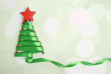 Beautiful fir tree made from satin ribbon