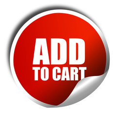 add to cart, 3D rendering, red sticker with white text