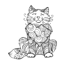 hand drawn ink doodle cat on white background. Coloring page - zendala, design for adults, poster, print, t-shirt, invitation, banners, flyers.