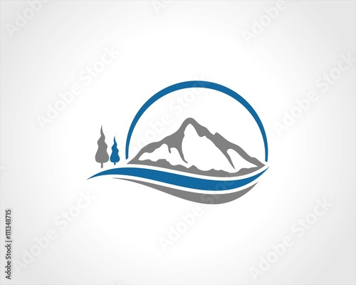 quotcircle mountain wave logoquot stock image and royaltyfree
