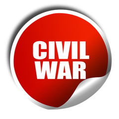 civil war, 3D rendering, red sticker with white text