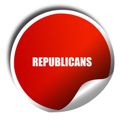 republicans, 3D rendering, red sticker with white text