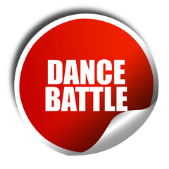 dance battle, 3D rendering, red sticker with white text