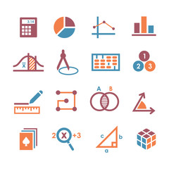 mathematics icon set.