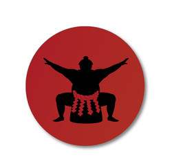 Sumo wrestler and japanese national flag .vector art