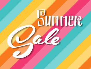 Summer Sale. Hand lettering vector banner.