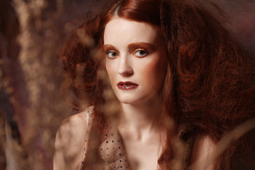 redhair woman with bright creative make up