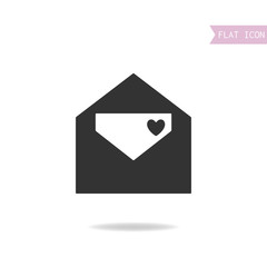Flat icon of  etter. Love message. Black silhouette, mail.