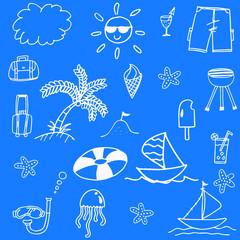 Blue backgrounds beach doodle