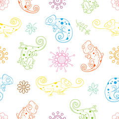 Seamless pattern with cute cartoon chameleons, plants and flowers on  white  background. Colorful  reptiles in different poses. Children's illustration. Vector contour image.