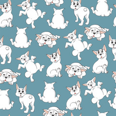 Seamless pattern with white French Bulldogs on blue background