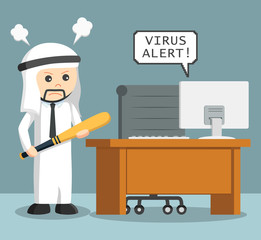 arab businessman angry with virus in his computer