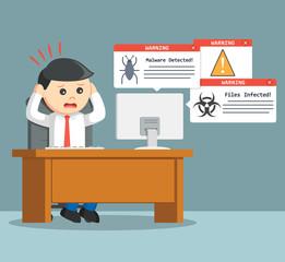 businessman panic when virus attack his computer
