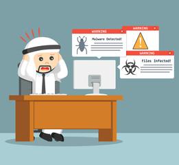 arab businessman panic when virus attack his computer