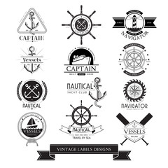 Nautical vessels vintage labels, icons and design elements.