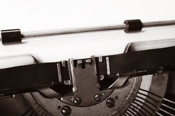 Old typewriter with paper, close up