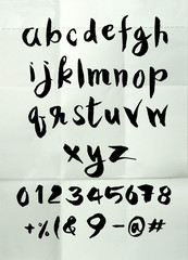 Hand drawn alphabet letters ,Brush style
