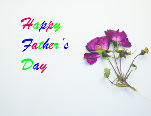 Happy father's day with colorful letter and dried flower.