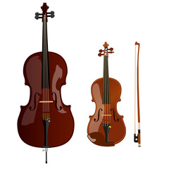vector brown cello, the violin and the bow