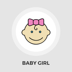 Baby girl Vector Flat Icon